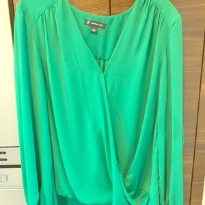 Tops - INC Blouson style  green sz Large blouse